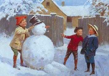 Three Little Boys With A Snowman L39